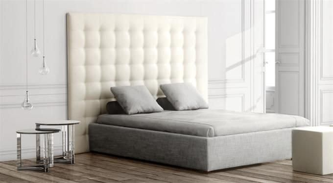 Double bed headboard / contemporary / fabric / leather - GRASSOL