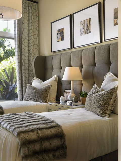 one headboard, two twin beds - great for a guest bedroom | Home .