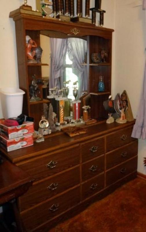 Lot #57Vintage 9 Drawer Dresser With Mirror and Shelves, Contents .