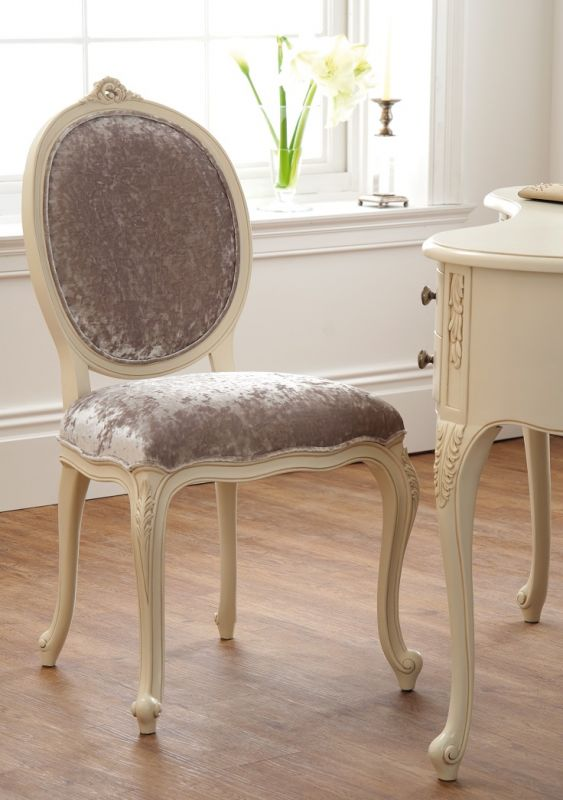 Régency French - Ivory Dressing Chair Fabric Seat | Oak Furniture
