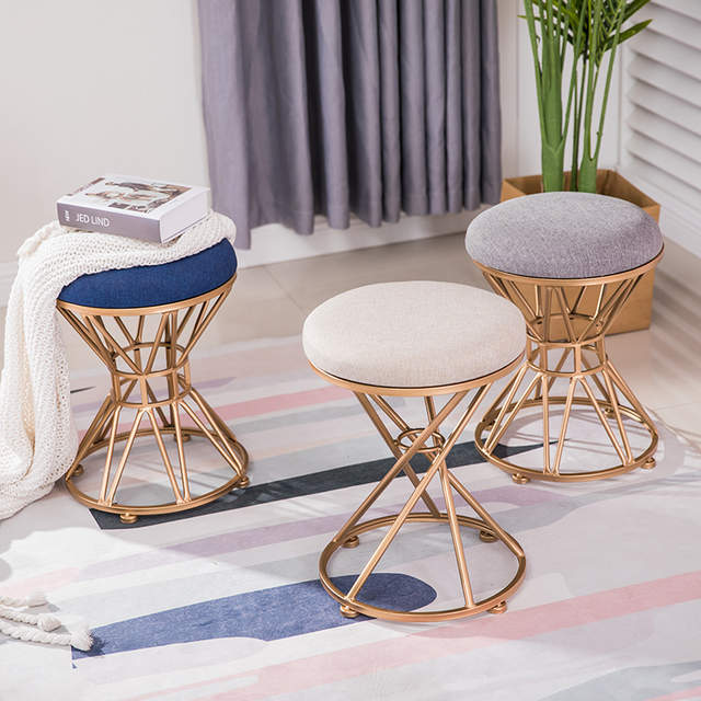 Nordic dressing stool fashion wrought iron stool fabric change .