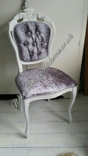 Crushed velvet dressing table chair with beautiful crystal buttons .