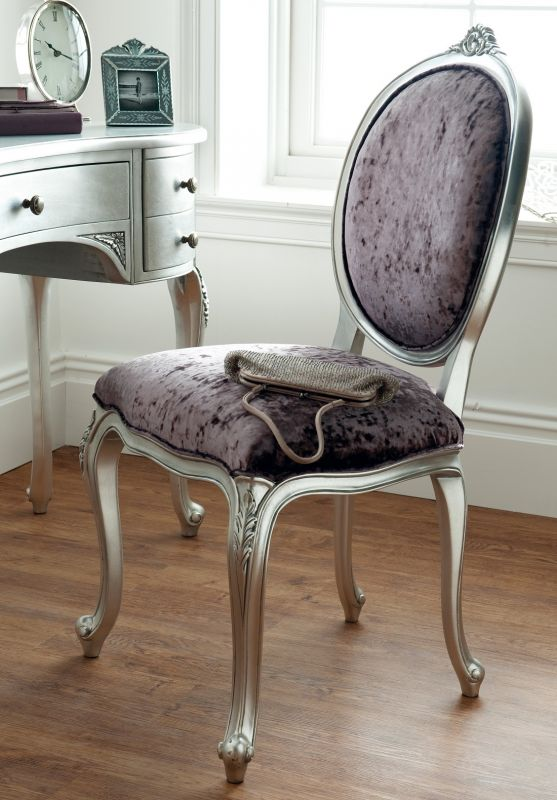 Régency Silver Leaf Dressing Table Chair Fabric Seat | Oak .