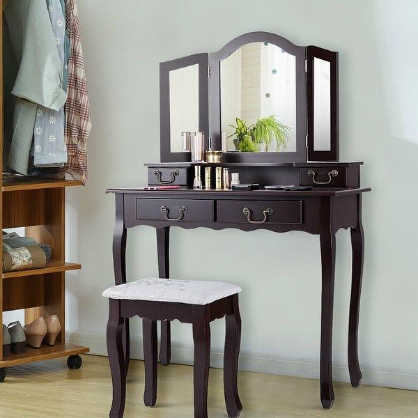 Shop Gymax 4 Drawers Vanity Set Dressing Table w/ Tri-Folding .