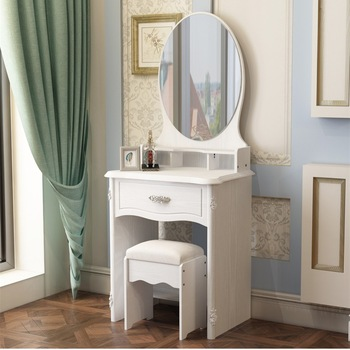 Modern White Princess Dressing Table With Mirror And Drawer - Buy .