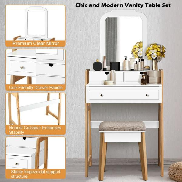Costway 2-Piece White Makeup Vanity Table Set with 3 Drawers .