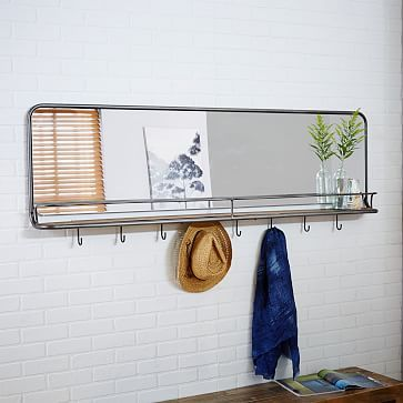 Entryway Mirror + Hooks - Large #westelm | Entryway mirror, Mirror .