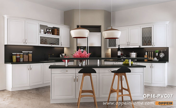 Simple European Style of White Kitchen Cabinet OP16-PVC07- OPPEIN .