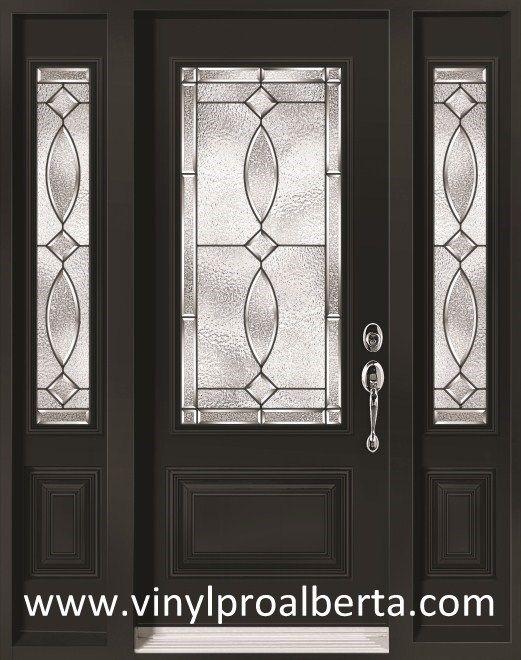 "Exterior Steel Entry Door with 2 Sidelights 3/4 glass ""MAYA ."