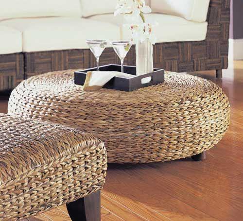 Oversized Round Abaca Weave Wicker Ottoman | Rattan coffee table .