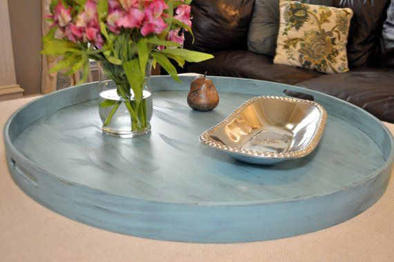 """20"""" to 40"""" Turquoise Distressed - Round Extra Large Ottoman Tray ."""