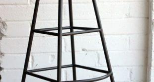 Aged Wood Tall Iron Bar Stool   Tall bar stools, Industrial bar .