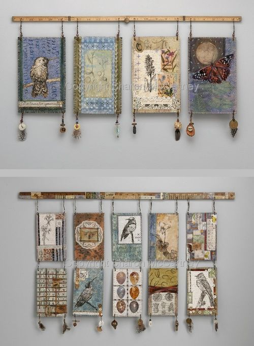 Mixed media wall hangings by textile artist Sharon McCartney .