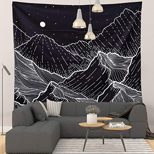 Amazon.com: Grace Store Mountain Tapestry Black and White Tapestry .