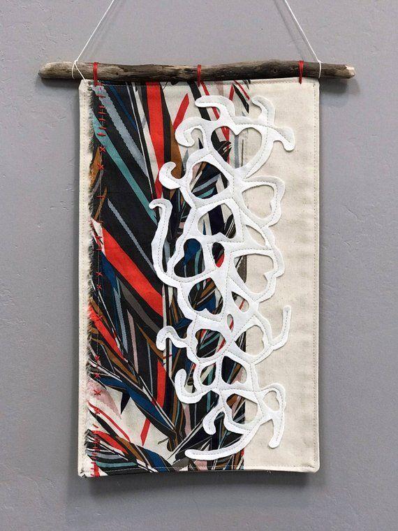 Modern Fabric Wall Hanging, Textile Art, Boho Tapestry, Art Quilt .