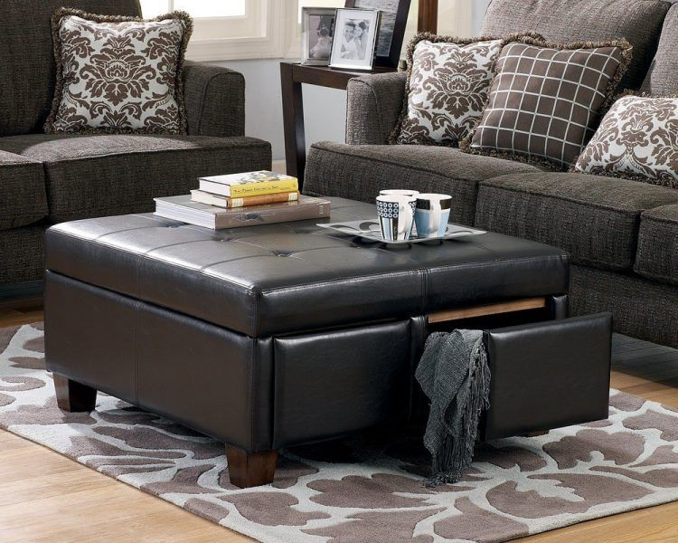 Unique and Creative! Tufted Leather Ottoman Coffee Table | Storage .