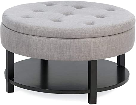 Amazon.com: Contemporary Gray Tufted Round Cocktail Ottoman .