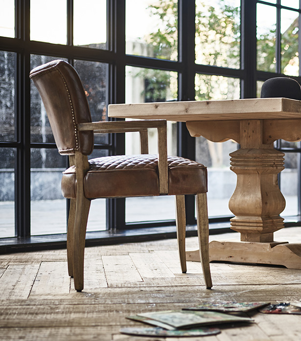 Leather & Fabric Dining Chairs - Mimi Quilt with Arm | Timothy .