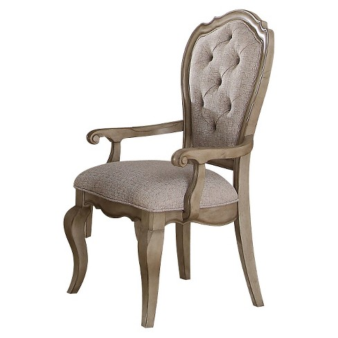 2pc Chelmsford Arm Dining Chair Antique Taupe And Beige Fabric .