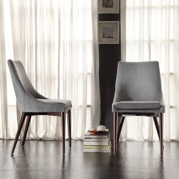 Inspire Q Sasha Mid-century Grey Fabric Upholstered Slope Leg .