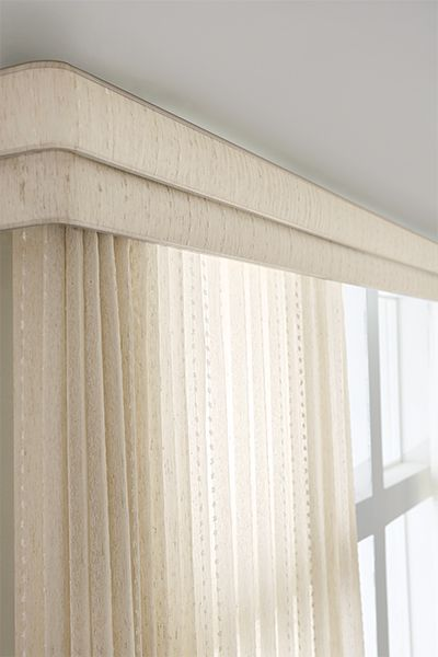 Sheer Vertical Blind: Cascade, Champagne 2080; Double Round Corner .
