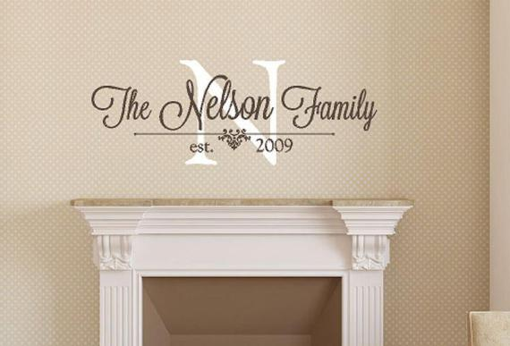 Family Monogram Wall Decal Personalized Family Wall Decal | Et