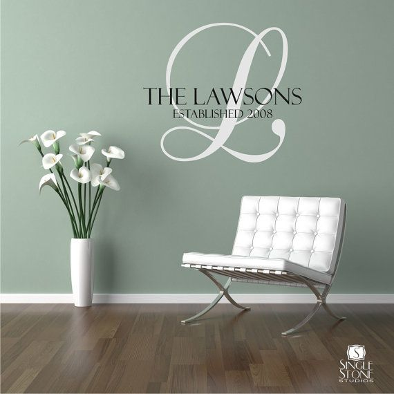 Family Monogram Wall Decal - Vinyl Wedding Stickers Art Custom .
