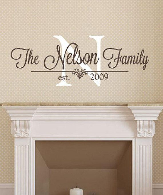 Family Monogram Wall Decal Personalized Family Name - Wedding Gift .