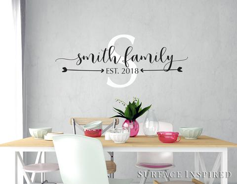 Personalized Family Name Monogram Wall Decal Vinyl Wall Art Smith .