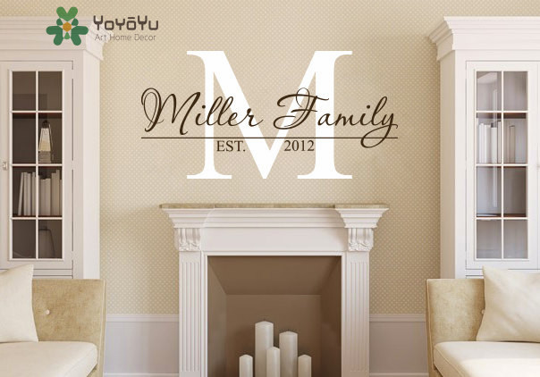 Family Name Personalized Monogram Wall Decal Living Room Decor .