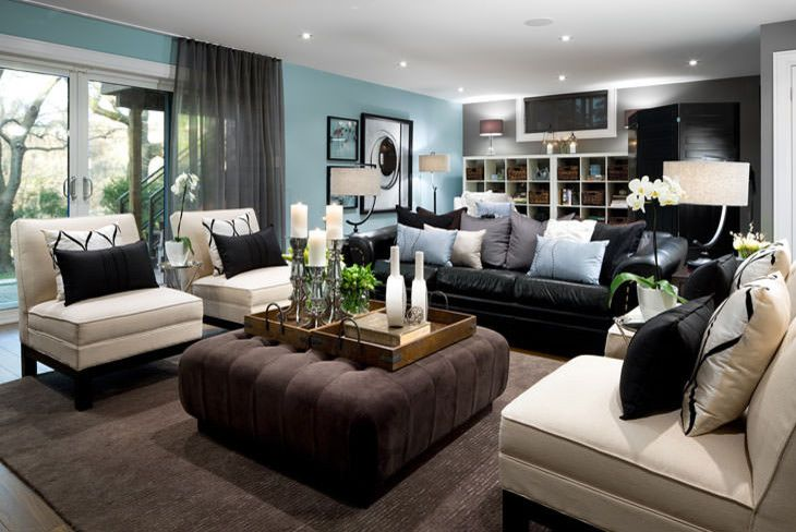 Wonderful Black Leather Sofa decorating ideas for Living Room .