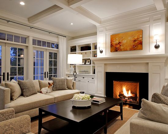 Traditional Family Room Fireplace With Side Shelves Design .