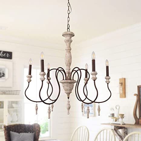Antique Handmade Wood Chandelier with Drops Farmhouse Pendant .