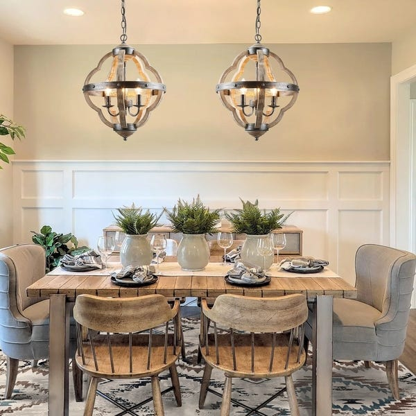 Shop Farmhouse Chandlier with 3-lights Hanging light for Dining .