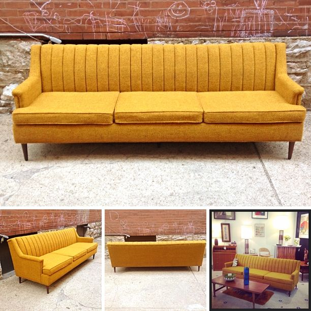 MidCentury #Danish Modern #Flexsteel #Sofa In #Yellow -Pricing .