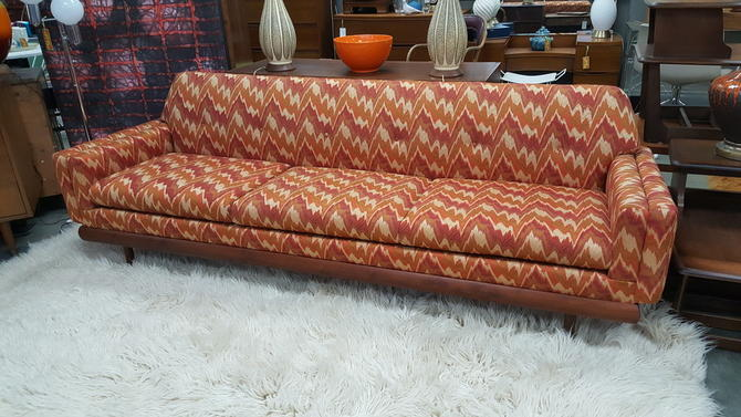 Mid-Century Modern American sofa with flamestitch upholstery and .