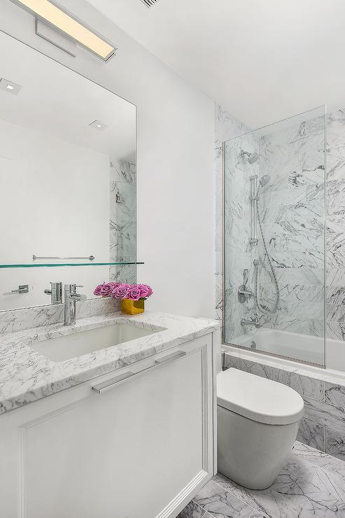Floating Glass Shelf Over Bath Sink - Transitional - Bathro