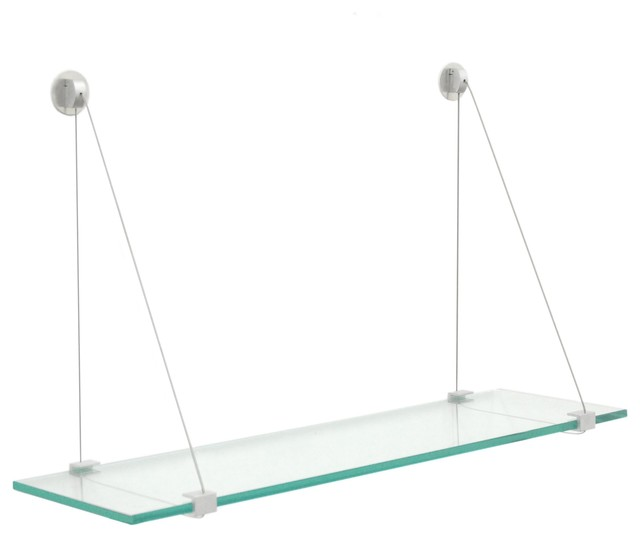 Crane Floating Clear Glass Shelf - Contemporary - Bathroom Shelves .