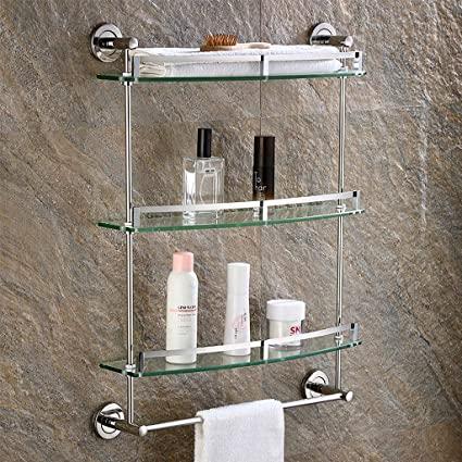 Amazon.com: Wall Mounted Bathroom Shelf, Glass Floating Shelves .