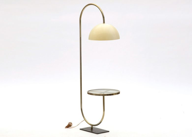 Italian Modernist Floor Lamp with Attached Side Table | Floor lamp .