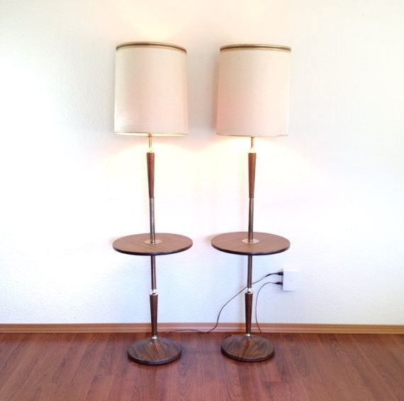 pair of vintage floor lamps with attached table. lamp & table .