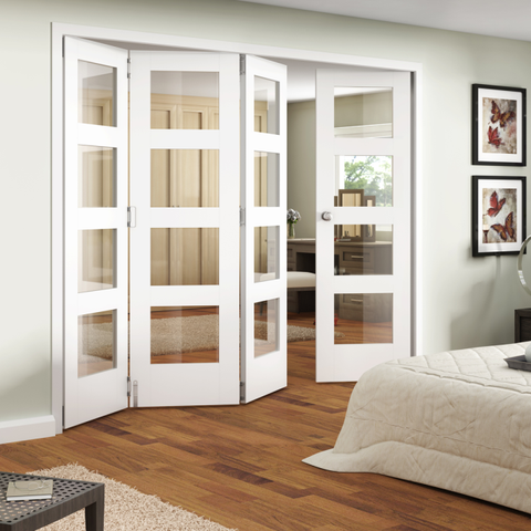 Jeldwen Shaker Primed 4 Light Internal Folding Doors | Folding .