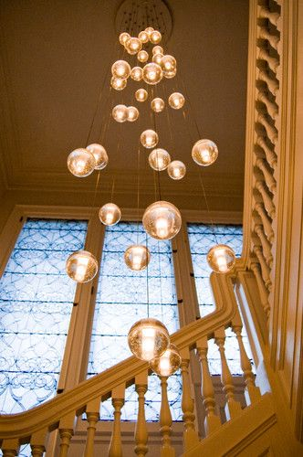 Great lights for a high entrance foyer or double story staircase .