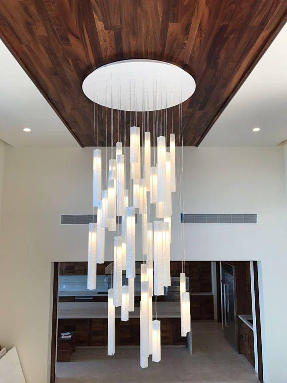Large stairways lighting | High ceiling lighting, Modern foyer .
