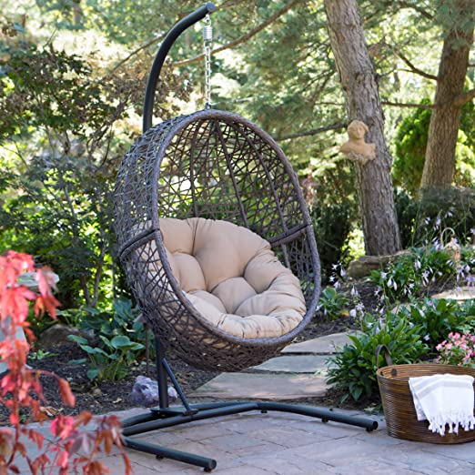 Amazon.com: Resin Wicker Espresso Hanging Egg Chair with Tufted .
