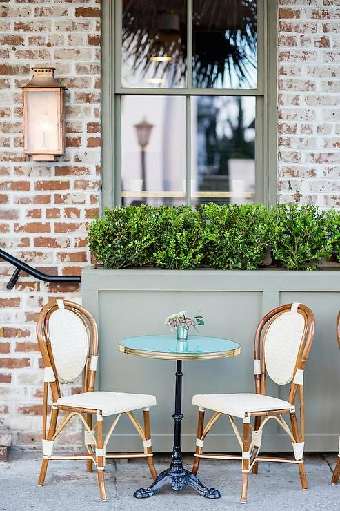 Glass Top Bistro Table with French Cafe Chairs, Transitional, Deck .