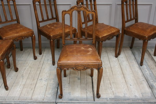 Antique French Leather and Oak Dining Chairs, Set of 6 for sale at .
