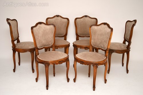 Set Of Six French Antique Walnut Dining Chairs - Antiques Atl