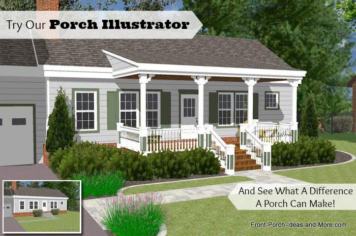 Great Front Porch Designs Illustrator on a Basic Ranch Home Desi