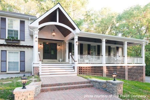 Front Porch Designs For Raised | Front porch design, Porch roof .